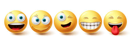 Smiley happy vector set. Smileys face yellow emoticon with funny, winking and naughty facial expressions isolated in white background for design elements. Vector illustration 向量圖像
