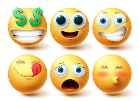 Emoji smiley vector set. Smileys emoticon happy collection facial expressions isolated in white background for graphic design elements. Vector illustration