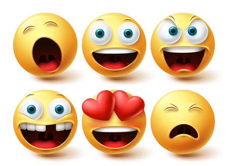 Emoji smileys happy vector set. Smileys emoticon happy, in love and sleepy face collection facial expressions isolated in white background for graphic design elements. Vector illustration 向量圖像