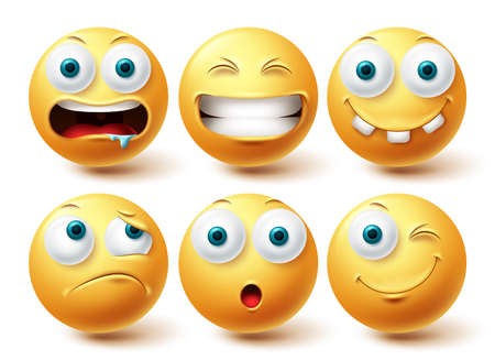 Smiley funny emoji vector set. Smileys yellow emoticon funny, happy and disappointed icon collection isolated in white background for graphic elements design. Vector illustration