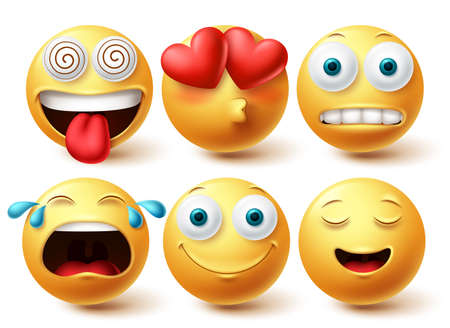 Smiley emoji vector set. Smileys emoticon happy, in love and crying faces icon collection isolated in white background. Vector illustration 向量圖像