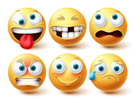 Smiley funny emoji vector set. Smileys emoticon yellow icon collection isolated in white background for graphic elements design. Vector illustration