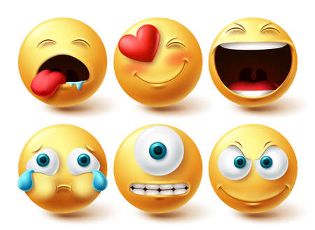Smiley emoji vector set. Smileys emoticon happy, cute, crying and cyclops eye yellow icon collection isolated in white background for graphic elements design. Vector illustration