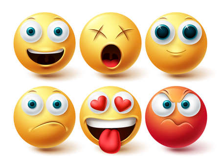 Smiley emoji vector set. Smileys emoticon happy, angry, in love and dizzy icon collection isolated in white background for graphic design elements. Vector illustration