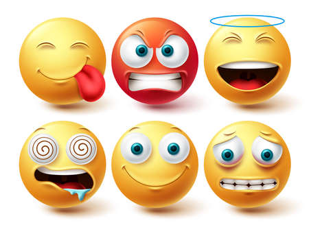 Smiley emoji face vector set. Smileys and emoticon happy, hungry and angry icon collection isolated in white background for graphic design elements. Vector illustration
