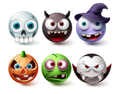 Smileys halloween emoji vector set. Smiley emojis horror character mascot collection isolated in white background for graphic design elements. Vector illustration