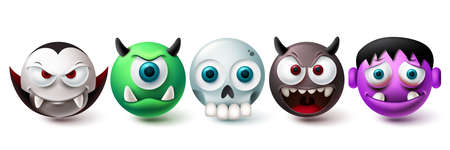 Smileys halloween vector set. Smiley and emojis graphic elements in creepy, horror and scary character collection isolated in white background. Vector illustration