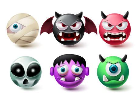 Smileys halloween emoji vector set. Smiley emojis horror character icon collection isolated in white background for graphic design elements. Vector illustration