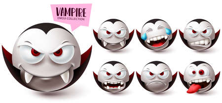 Smileys vampire emoji vector set. Smiley emojis halloween mascot character icon collection isolated in white background for graphic design elements. Vector illustration 向量圖像