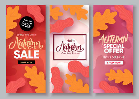 Autumn sale vector poster set. Fall season shopping discount collection with maple, oak and foliage leaves design element for advertising promotion. Vector illustration