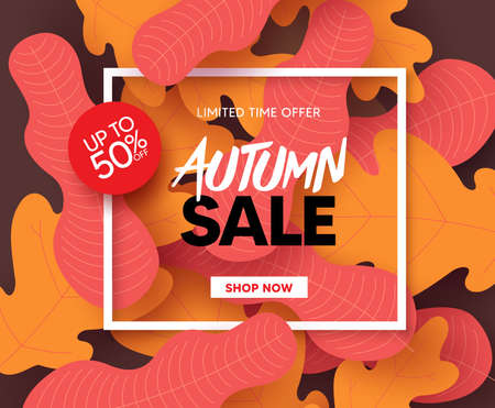 Autumn sale vector banner design. Fall season shopping limited time offer text with maple and oak leaves element for promotion design. Vector illustration