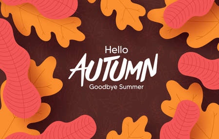 Autumn vector background design. Hello autumn greeting text with orange and yellow leaves element for fall season in doodle background. Vector illustration