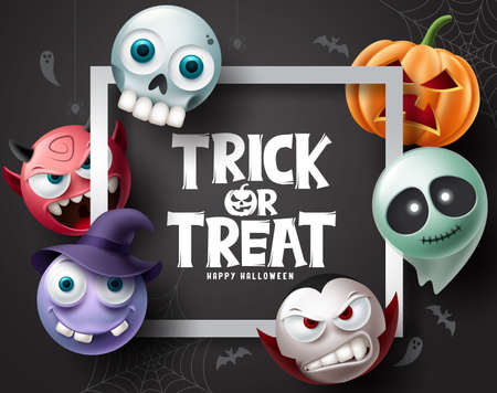 Halloween character vector background. Halloween trick or treat text with pumpkins, ghost, vampire and witch character for horror elements party design. Vector illustration.