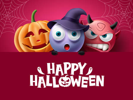Halloween characters background design. Happy halloween text in red space with creepy, spooky and scary characters for horror party decoration. Vector illustration.