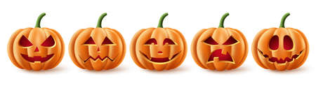 Halloween pumpkins vector set. Halloween pumpkin element collection in spooky, scary and creepy with facial expressions for icons and decorations isolated in white background. Vector illustration.