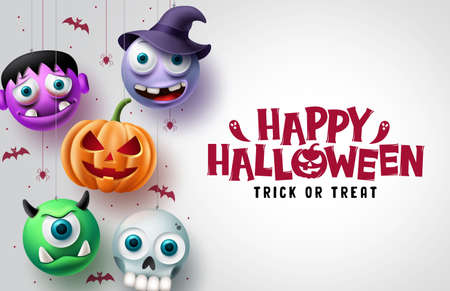 Halloween character vector background design. Happy halloween trick or treat text in white space with hanging scary pumpkin, skull, and witch horror characters. Vector illustration.