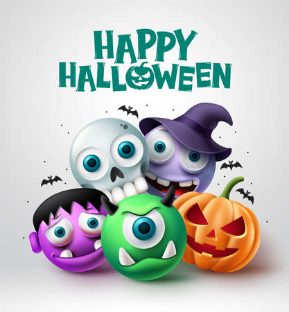 Halloween character vector design. Happy halloween text with scary pumpkin, skull, witch and cyclops horror characters background. Vector illustration.
