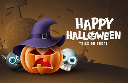 Happy halloween cemetery background design. Halloween trick or treat text with pumpkin, skull and cat scary character in grave yard background. Vector illustration