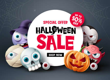 Halloween sale banner design. Halloween special offer discount text with scary and spooky cute character for holiday shopping advertisement background. Vector illustration