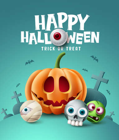 Happy halloween background design. Halloween trick or treat text with eyeball element and scary cute character in grave yard cemetery background. Vector illustration 向量圖像