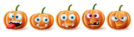 Halloween pumpkins vector set. Halloween pumpkin character in funny, happy and scary facial expression for element collection isolated in white background. Vector illustration.