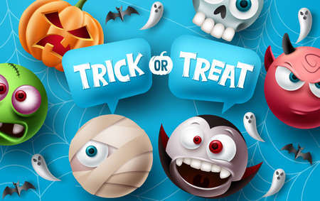 Trick or treat halloween vector design. Halloween character elements with trick or treat typography text in speech bubbles space for cute and scary mascot celebration. Vector illustration.