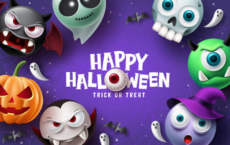 Happy halloween text vector background design. Halloween and trick or treat typography with scary, spooky, creepy and cute mascot characters. Vector illustration.