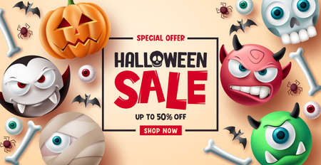 Halloween sale vector banner background design. Halloween special offer discount text with cute and scary emoji character for promotion ads. Vector illustration. 向量圖像