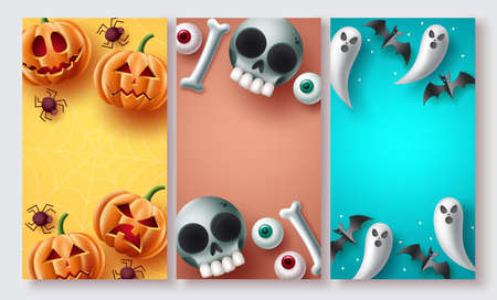 Halloween poster set vector design. Halloween background collection with cute, creepy and scary mascot character elements with copy space for typography text. Vector illustration.