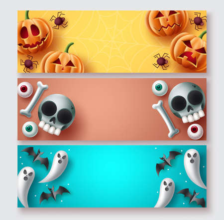 Halloween banner set vector design. Halloween background collection with cute mascot character elements with copy space for typography text. Vector illustration. 向量圖像