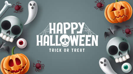 Happy halloween text vector design. Halloween trick or treat in gray space background with scary, spooky, creepy and cute mascot characters. Vector illustration. 向量圖像
