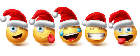 Christmas smiley emoji vector set. Emojis xmas characters wearing santa red hat icon collection isolated in white background for graphic design elements. Vector illustration.