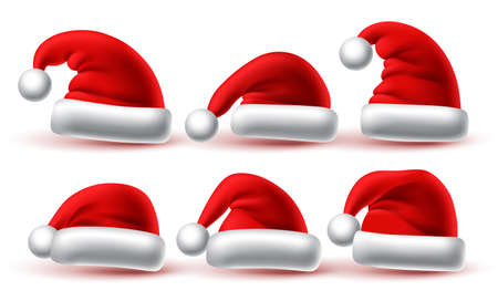 Christmas santa hat set vector design. Santa claus red cap collection isolated in white background for xmas holiday celebration. Vector illustration. 向量圖像