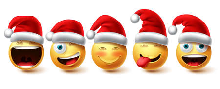 Christmas emoji vector set. Smiley xmas characters wearing santa red hat icon collection isolated in white background for graphic design elements. Vector illustration.