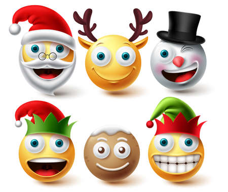 Christmas emoji vector set. Smiley xmas characters like santa, elf, gingerbread and raindeer icon collection facial expression isolated in white background for graphic design elements. Vector