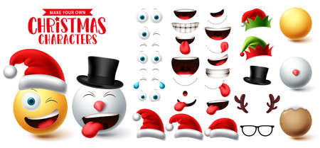 Christmas emoji creation vector set. Smiley face eyes, mouth, hat and head emoticon collection creator character for xmas graphic element design. Vector illustration.