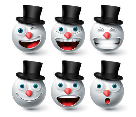 Christmas snowman emoji vector set. Emojis smiley snow man wearing black hat icon collection isolated in white background for xmas and winter character design elements. Vector illustration. 向量圖像