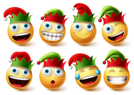 Christmas elfs emoji vector set. Emojis smiley wearing elf hat icon collection isolated in white background for xmas character design elements. Vector illustration.