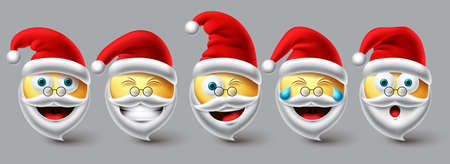 Christmas santa emoji vector set. Emojis smiley santa claus wearing red hat icon collection isolated in white background for xmas winter character design elements. Vector illustration. 向量圖像