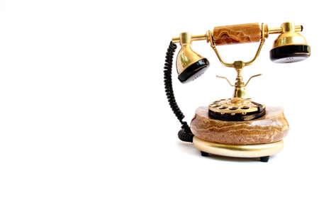 ear phones: retro phone isolated on white backkground
