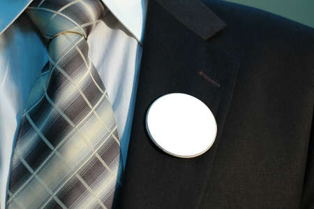 Businessman in Suit with blank badges Stock Photo - 11277405