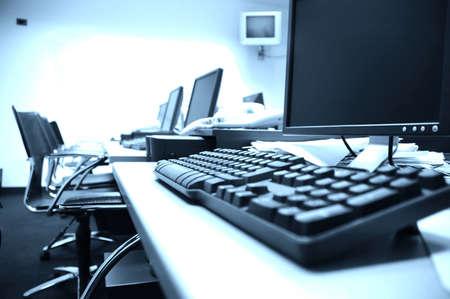 컴퓨터 실, 블루 톤의 사진 블루 스크린