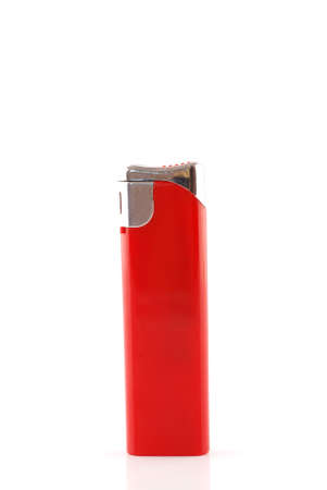 gas lighter: Red lighter isolated on white background Stock Photo