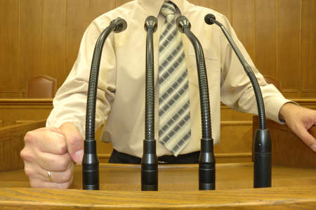 parliamentary: Politician in parliamentary speech, speech concept Stock Photo