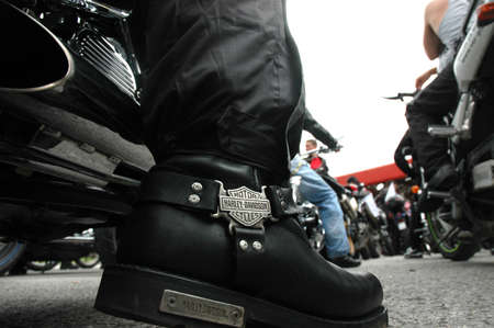 Harley Davidson logo on a boot in a BickeRock Mission in Kosovska Mitrovica, Serbia, June 26, 2010