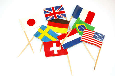 diplomacy: party picks with little flags of different countries Stock Photo
