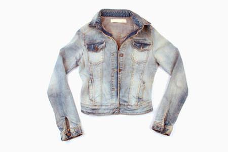 jeans pocket: Fashionable denim jacket isolated on white background