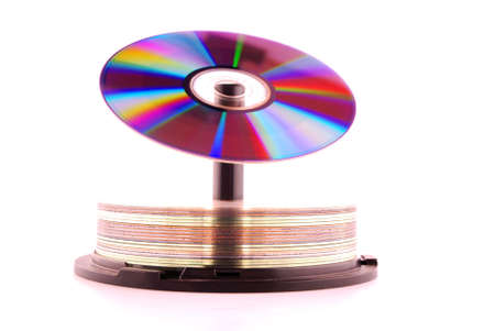 cd rom: Cd rom with colors of the rainbow on top of stack cd