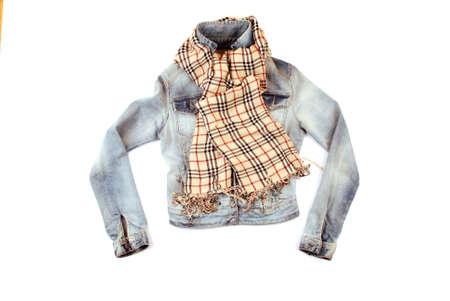Fashionable denim jacket with checkered scraf isolated on white background photo
