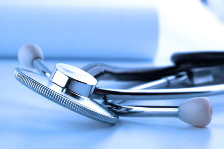 helthcare: macro shoot of Stethoscope in blue tone Stock Photo